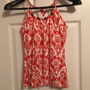 Bright cute printed halter top w/ beads & cut outs